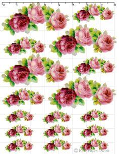 Vintage Shabby Pink/Red Rose Chic waterslide water slide Decals De-Ro-3. $9.99, via Etsy.