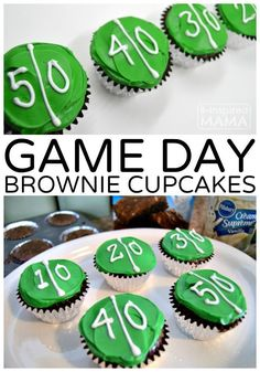 Game Day Brownie Cupcakes - Our New Football Game Watching Tradition - at B., Easy Game Day Brownie Cupcakes - Our New Football Game Watching Tradition - at B., Easy Game Day Brownie Cupcakes - Our New Football Game Watching Tradition - at B. Football Brownies, Superbowl Desserts, Football Treats, Football Party Foods, Football Food, Football Cupcakes, Football Birthday, Football Parties, Tailgate Parties