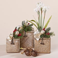 6 Inch Whitewashed Natural Grass Blooming Paperwhite Basket with Holiday Decor, 6 Paperwhite Bulbs