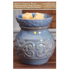 """Hosley Candle Company 6"""" High Blue Ceramic Electric Warmer. Ideal for spa and aromatherapy. Use with HOSLEY brand wax melts / cubes, essential oils and fragrance oils."""