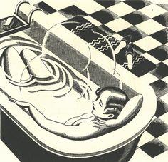Uno de los máximos placeres de la vida en una xilografía de Charles W. Hobson