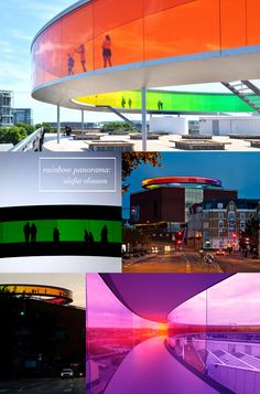 The Rainbow Panorama by Olafur Eliasson on the rooftop of the Aros museum in Aarhus, Denmark