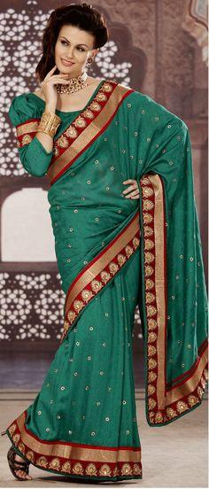 Deep Sea Green Bhagalpuri Silk Saree with Blouse @ $97.64