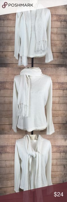 "Coldwater Creek White Sweater-Scarf Large Coldwater Creek White Sweater and scarf  Size Large  Made thin  Measurements  32"" Bust  24"" Length  Very soft like cashmere  Excellent new like condition  Fast shipping  Feel free to ask questions  And check out my other listings (: Coldwater Creek Sweaters Crew & Scoop Necks"