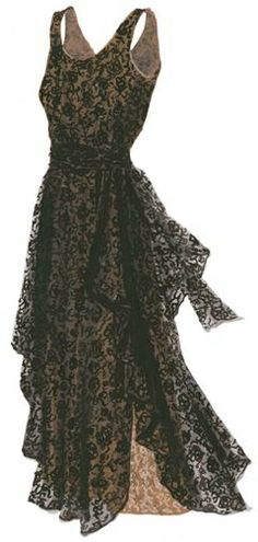 1930's Vintage Black Lace Dress