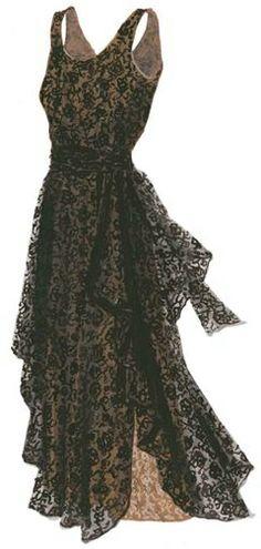 1930's Vintage Black Lace Dress