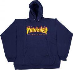 25b47326b4c6 Thrasher magazine flame logo hoody- navy