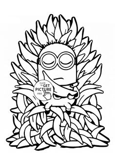 Minion And Many Bananas Coloring Page For Kids Fruits Pages Printables Free