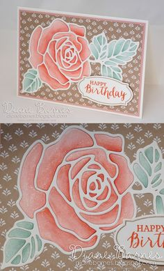 rose birthday card using Stampin Up Rose Wonder / Rose Garden. stamps & dies with Wink of Stella. By Di Barnes #colourmehappy 2016 Occasions Catalogue. Just Add Ink Challenge 294