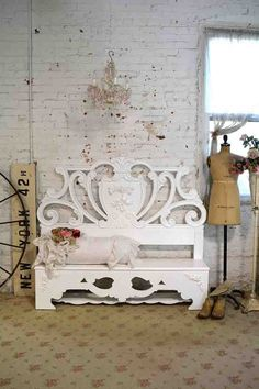 Painted Cottage Chic Shabby French Handmade Bench CHR71