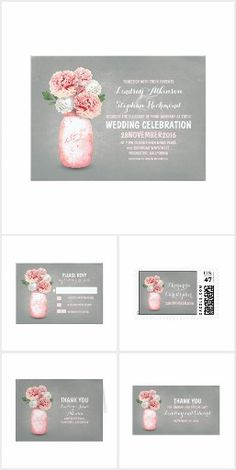 Painted Mason Jar Pink Peonies Wedding Collection