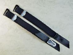 2 x 15mm verstellbare Strapsbänder, mit Strumpfhalterclip zum Anhaken in schwarz, Satinbändchen