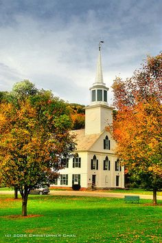 Windham County, Vermont. The church across from my high school Leland and Grey! oh how i miss you!