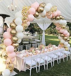 Pink Balloons, Wedding Balloons, Latex Balloons, Princess Balloons, Balloons Galore, Gold Confetti Balloons, Birthday Balloon Decorations, Wedding Decorations, Party Decoration Ideas