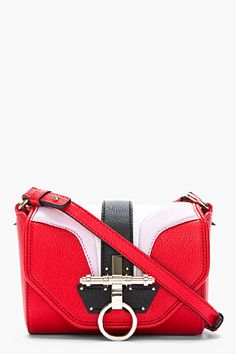 GIVENCHY Red & Pink Arch Leather Obsedia Shoulder Bag