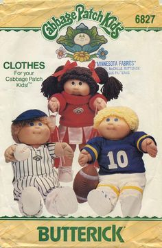 Vintage Doll Clothes Sewing Pattern | Cabbage Patch Kids® Clothes | Butterick 6827 | Year 1984 | One Size