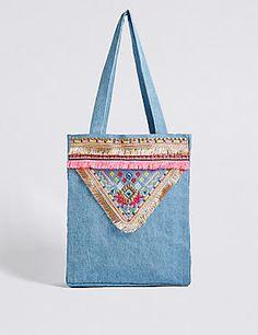 Kids' Pure Cotton Embellished Shopper Bag