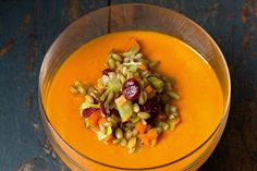 Carrot, Cumin and Miso Soup with Grain Salad - Kitchen Tales Grain Salad, Aromatic Herbs, Miso Soup, Food For Thought, Mindful, Squash, Sweet Recipes, Basil, Carrots