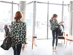 Women Green Leopard Print Chiffon Shirt Top Blouse