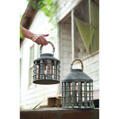 Lanterns, Dark Grey Set Of 2 | Home Decor