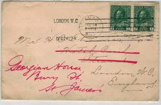 1912 letter...to be pulled from for Higgins' mail in first study scene