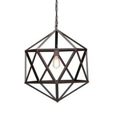 ZUO Amethyst 1-Light 21.3 in. Ceiling Rust Small Pendant-98241 at The Home Depot