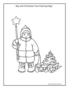 Boy With Christmas Tree Coloring Page Kidscanhavefun
