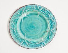 Raised Turquoise Starfish Dinner Plates - Set of 4 | Coastal Dinnerware | Aqua Blue Beach Plates #beach #coastal #dinnerware