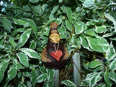 Keramik Vogel, Zaunhocker, Zaunfigur, Pfostenhocker, Beetstecker Gartendekofigur