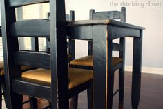 Black Distressed Table Makeover the thinking closet Table Makeover Black Closet Distressed Makeover Table thinking Black Distressed Furniture, Black Painted Furniture, Painting Old Furniture, Dark Wood Furniture, Distressed Desk, European Furniture, Black Dining Room Furniture, Black Dining Chairs, Dining Room Chairs