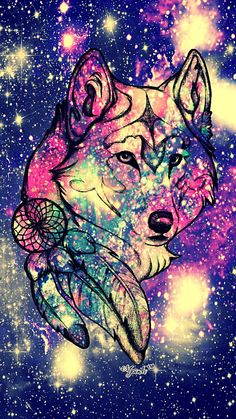 She Wolf Galaxy Wallpaper #androidwallpaper #iphonewallpaper #wallpaper #galaxy #sparkle #glitter #lockscreen #pretty #pink #cute #animal #girly #wolf #tribal #drawing #sky #stars