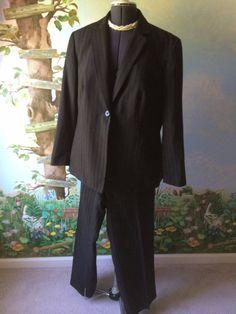 Emily Brown Pinstripe Long Sleeve women Pant Suit Size 16W #Emily #PantSuit