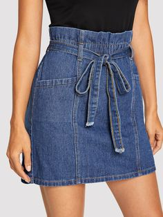 Shop Paperbag Waist Denim Skirt With Belt online. SHEIN offers Paperbag Waist Denim Skirt With Belt & more to fit your fashionable needs. To find out about the Paperbag Waist Denim Skirt With Belt at SHEIN, part of our latest Denim Skirts ready to shop on Denim Skirt Outfits, Denim Outfit, Denim Skirts, Jean Skirts, Denim Short Dresses, High Waisted Denim Skirt, Denim Overalls, Jeans Dress, Boho Chic Wedding Dress