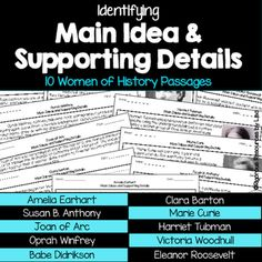 Main Ideas and Supporting Details Passages - Women of History