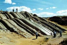 Sacsayhuaman, Peru - Rodadero hill (diorite) deeply scoured grooves - near the so-called Throne of the Incas...