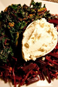 Warm Beet Greens with Whipped Feta