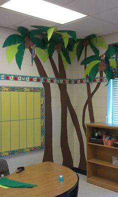 Palm trees for my jungle themed classroom jungle theme classroom, preschool classroom, paper tree Classroom Tree, Jungle Theme Classroom, Classroom Design, Classroom Displays, Kindergarten Classroom, Classroom Decor, Classroom Ceiling Decorations, Jungle Theme Decorations, Ocean Themes