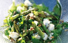 BBQ asparagus, rocket, goats cheese and pine nut salad