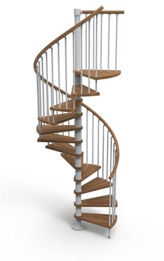 Gamia Wood Deluxe Spiral Stair Kit complete with solid Beech treads and handrail - Silver Grey metalwork and Dark Walnut shade timber - Choice of 3 Diameters: 1200mm, 1400mm & 1600mm # Price From £1280.00 (Inc VAT & UK Mainland Delivery)