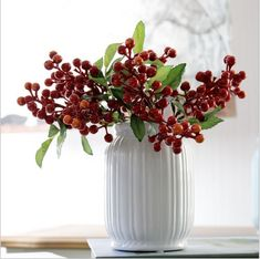 Sully Wong Artificial Plant Fruit berry bouquet home decoration accessory part supply artificial flower fake flower diy Flores Silk Flower Bouquets, Silk Flowers, Fake Flowers, Hanging Garland, Diy Garland, Christmas Berries, Red Christmas, Holly Berries, Red Berries