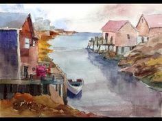 "▶ Paint Along with Larry Hamilton - Nov. 23, 2013 - Watercolor ""Peggy's Harbor"" - YouTube"