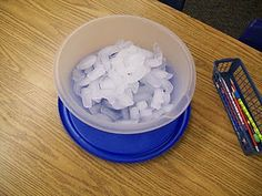 100th Day of School Ideas - count out 100 ice cubes and predict when they will melt (spread out in a pan ... this bowl took 12 hours to melt)