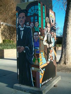 Painted by the court house a law themed piece. Artist: David Mejia  Sponsor: Bonnie Ross Completed: Jan 22, 2014 Location: Market Street at St. James Street  The detail on this art box -- amazing!