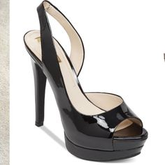Jessica Simpson Peep Toe Black Pump Jessica Simpson Peep-Toe  Patent Leather Pump Jessica Simpson Shoes Heels