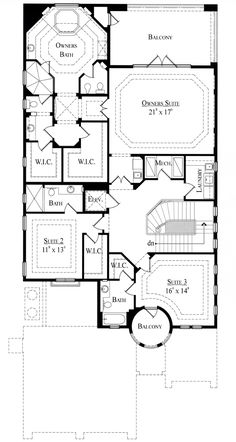 Italian House Plan 74283 Level Two