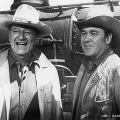 THE TRAIN ROBBERS (1973) - John Wayne & Ben Johnson on location in Durango, Mexico - Directed by Burt Kennedy - Warner Bros.