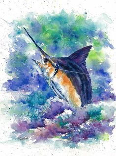 Great fishing designs for t-shirts! Follow the link - discounts for multiple products!  #saltlife #marlins #sailfish #sports #sportfish Watercolors, Watercolor Paintings, Fish Design, Fish Art, Note Cards, Giclee Print, Scenery, Fishing, June