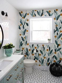 Beautiful colorful bathroom renovation feauturing natural stone tiles, modern vainity and hardware. Lots of bathroom makeover ideas to use in your home. Bathroom Renos, Bathroom Renovations, Bathroom Fixtures, Bathroom Interior, Diy Bathroom Furniture, Redo Bathroom, Painting Over Wallpaper, Bathroom Wallpaper, Wallpaper Over Wallpaper