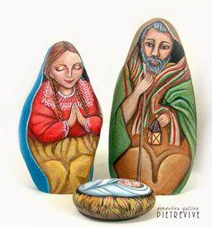 Nativity painted on rocks by Ernestina Gallina