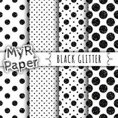 SALE 50% Glitter Digital Paper: Black Glitter